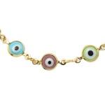 Pulseira Antialérgica Olho Grego Colorido Banho Ouro