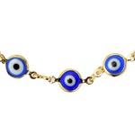 Pulseira Olho Grego Azul Murano Ouro