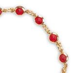 Pulseira Mini Zircônia Circular Rubi Ouro