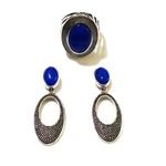 Conjunto de Brinco e Anel Folheados a Prata com Ágata Azul Royal