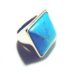 Anel Folheado a Ouro 18K com Howlita Azul