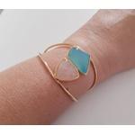 Bracelete Banhado a Ouro com Ágata Azul e Quartzo Rosa