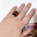 Anel Folheado a Ouro 18K com Ágata Negra, Vermelha e Verde