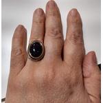 Anel Folheado a Ouro 18K e Ródio Negro com Pedra da Noite