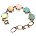 Pulseira Folheada a Ouro 18K com Pedra da Lua, Ágata Azul, Amazonita, Quartzo Verde e Rosa