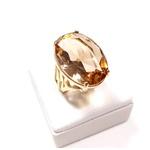 Anel Banhado a Ouro com Cristal Lapidado
