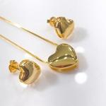 Conjunto de Brinco e Colar Banhado a Ouro com Coração