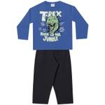 Conjunto Infantil Menino Moleton Flanelado Azul T-rex e Calça Preta