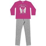 Conjunto Inverno Menina Cool Girl Com Casaco De Moleton Pink e Legging Mescla