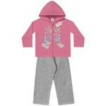 Conjunto Infantil Menina Jaqueta Com Capuz Pink Love e Calça Mescla