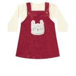 Conjunto Inverno Bebê Menina Body + Salopete Vermelha Coelhinho