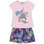 Conjunto Infantil Fakini Menina Verão Tropical Floral Rosa/azul