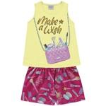 Conjunto Infantil Fakini Verão Menina Bolsa De Maquiagem Amarelo