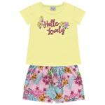 Conjunto Infantil Menina Fakini Verão Hello Lovely Amarelo/rosa