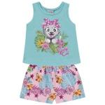 Conjunto Infantil Menina Verão Tropical Baby Verde-Água Fakini