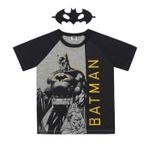 Camiseta Infantil Com Máscara Do Batman Cinza