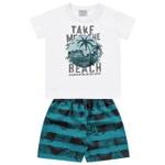Conjunto Infantil Bebê Menino Camiseta Branca + Short Beach Hawaí