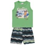 Conjunto Infantil Bebê Menino Regata Verde + Short Florida Beach
