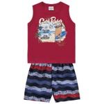 Conjunto Infantil Bebê Menino Regata Vermelha + Short Florida Beach