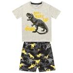 Conjunto Infantil De Menino Fakini Camiseta Mescla + Bermuda Dinossauro