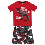 Conjunto Infantil De Menino Fakini Camiseta Vermelha + Bermuda Dinossauro