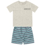 Conjunto Infantil De Menino Fakini Camiseta Mescla e Bermuda Listrada Adventures