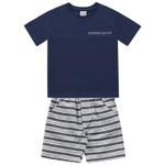 Conjunto Infantil De Menino Fakini Camiseta Marinho e Bermuda Listrada Adventures