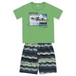 Conjunto Infantil De Menino Camiseta Verde + Bermuda Beach Day