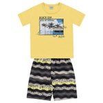 Conjunto Infantil De Menino Camiseta Amarela + Bermuda Beach Day
