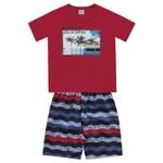 Conjunto Infantil De Menino Camiseta Vermelha + Bermuda Beach Day