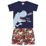 Conjunto Infantil Bebê Menino Camiseta Azul Marinho + Short Dino