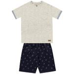 Conjunto Infantil De Menino Verão Camiseta Mescla e Bermuda Âncora