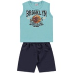 Conjunto Infantil De Menino Regata Verde-Água + Bermuda Brooklyn