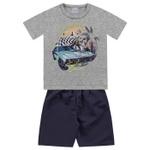 Conjunto Infantil De Menino Camiseta Cinza Carro + Bermuda Tectel