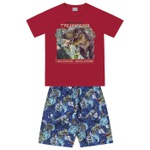 Conjunto Infantil De Menino Camiseta Vermelha + Bermuda Dinossauro Rex