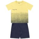 Conjunto Infantil De Menino Fakini Camiseta Happy Vibes e Bermudinha Amarelo