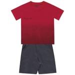 Conjunto Infantil De Menino Fakini Camiseta Happy Vibes e Bermudinha Vermelho