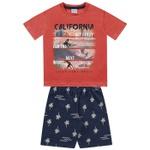 Conjunto Infantil De Menino Fakini Camiseta Laranja Surf + Bermuda Moletinho