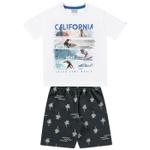 Conjunto Infantil De Menino Fakini Camiseta Branca Surf + Bermuda Moletinho