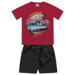 Conjunto Infantil De Menino Camiseta Vermelha Carro + Bermuda Tectel