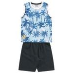 Conjunto Infantil De Menino Fakini Regata Estampada Azul + Bermuda Moletinho
