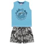Conjunto Infantil De Bebê Menino Verão Regata Azul e Bermuda Moto