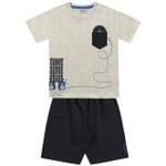 Conjunto Infantil De Menino Fakini Camiseta Mescla Musica + Bermuda Moletinho
