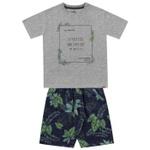 Conjunto Infantil De Menino Fakini Camiseta Mescla Wild Life + Bermuda Estampada