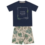 Conjunto Infantil De Menino Fakini Camiseta Marinho Wild Life + Bermuda Estampada
