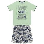Conjunto Infantil De Menino Fakini Camiseta Verde + Bermuda Catch Waves