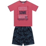 Conjunto Infantil De Menino Fakini Camiseta Salmão + Bermuda Catch Waves