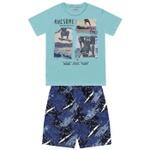 Conjunto Infantil De Menino Camiseta Verde-Água + Bermuda Skate