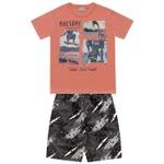 Conjunto Infantil De Menino Camiseta Laranja + Bermuda Skate