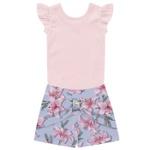 Conjunto Infantil Menina De Verão Body + Short Floral Rosa